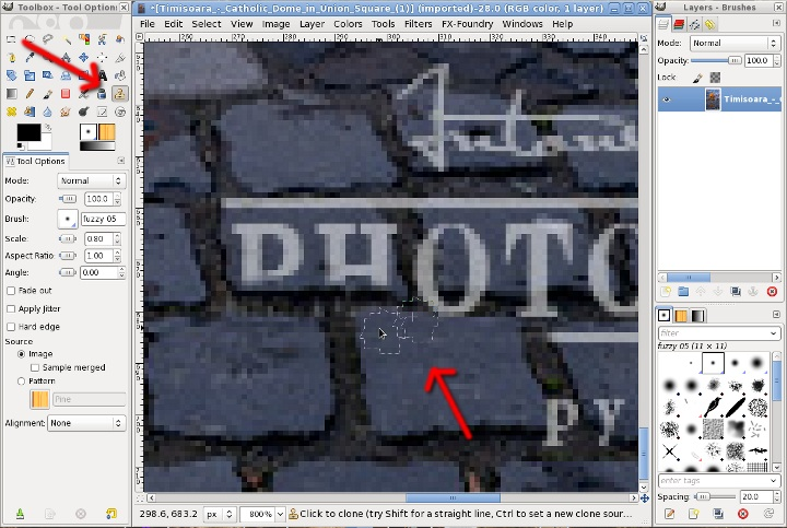 Nicu's How-to - GIMP Watermark removal