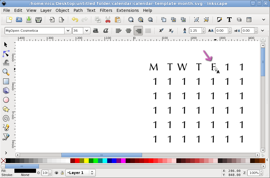 Nicus How To Inkscape Calendar Layout