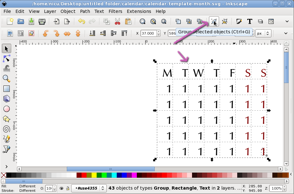 Nicu's How-to - Inkscape calendar layout