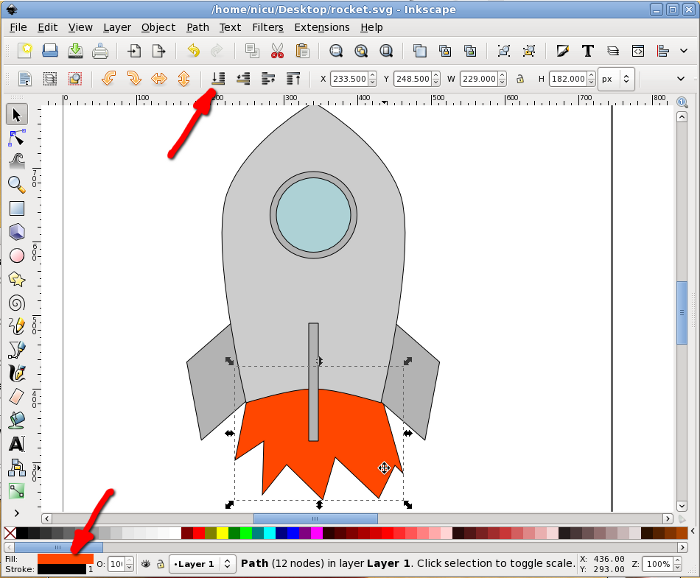 inkscape rocket howto